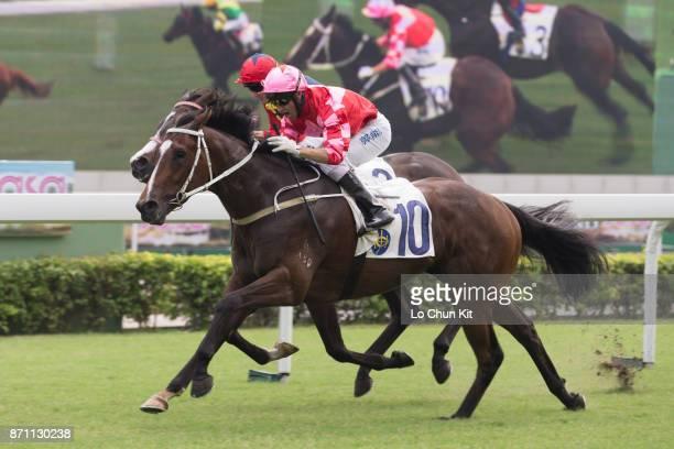 Jockey Neil Callan riding Regency Bo Bo wins Race 2 L'oreal Paris Handicap at Sha Tin racecourse on November 6 2016 in Hong Kong Hong Kong