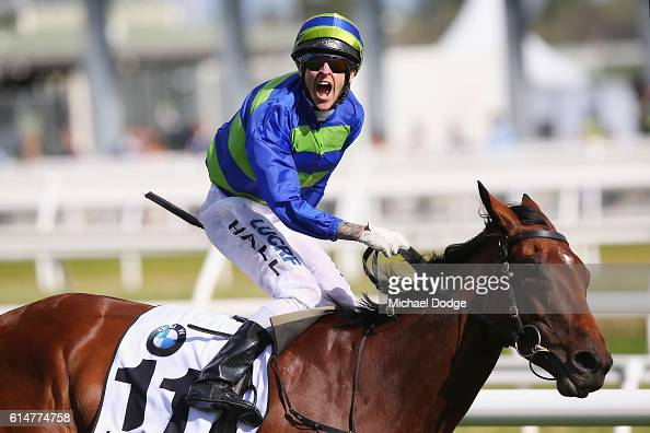 Jockey Nicholas Hall riding Jameka wins race 8 the BMW Cup during Caulfield Cup Day at Caulfield Racecourse on October 15 2016 in Melbourne Australia