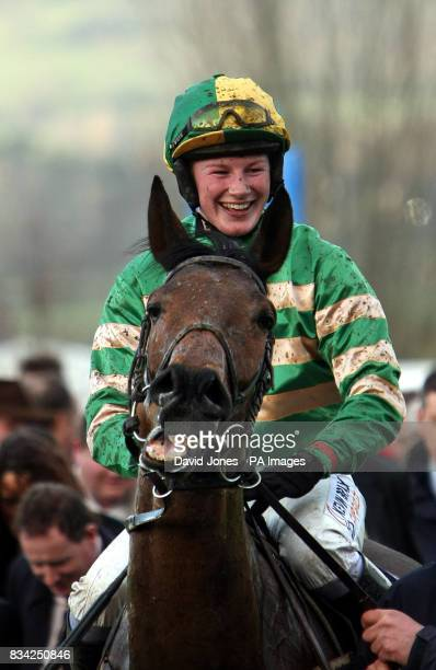 Jockey Nina Carberry on Garde Champetre after they won the BGC Handicap Steeple Chase during the Cheltenham Festival at Cheltenham Racecourse