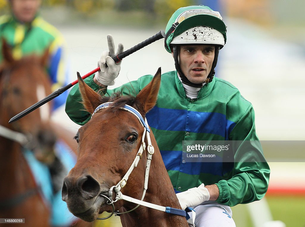Jockey Noel Callow riding Shihabi wins Race 6 the Jimjoca Cup at Taralye Race Day at Caulfield Racecourse on May 26, 2012 in Melbourne, Australia.