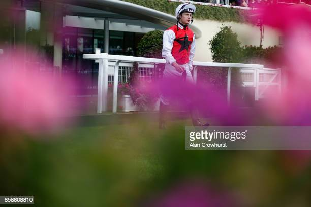 jockey Oisin Murphy makes his way to the parade ring for the first race at Ascot racecourse on October 7 2017 in Ascot United Kingdom