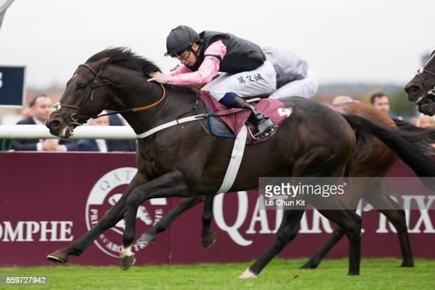 Jockey Oisin Murphy riding Aclaim wins the Race 7 Qatar Prix de la Foret during the Qatar Prix de l'Arc de Triomphe Race Day at Chantilly Racecourse...