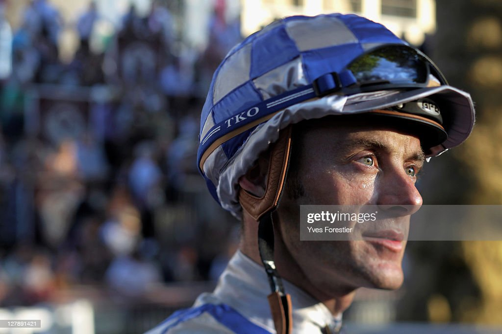 Jockey <a gi-track='captionPersonalityLinkClicked' href=/galleries/search?phrase=Olivier+Peslier&family=editorial&specificpeople=220682 ng-click='$event.stopPropagation()'>Olivier Peslier</a> attends the 90th edition of the Qatar Arc de Triomphe prize at the Longchamp racecourse on October 2, 2011 in Paris, France.