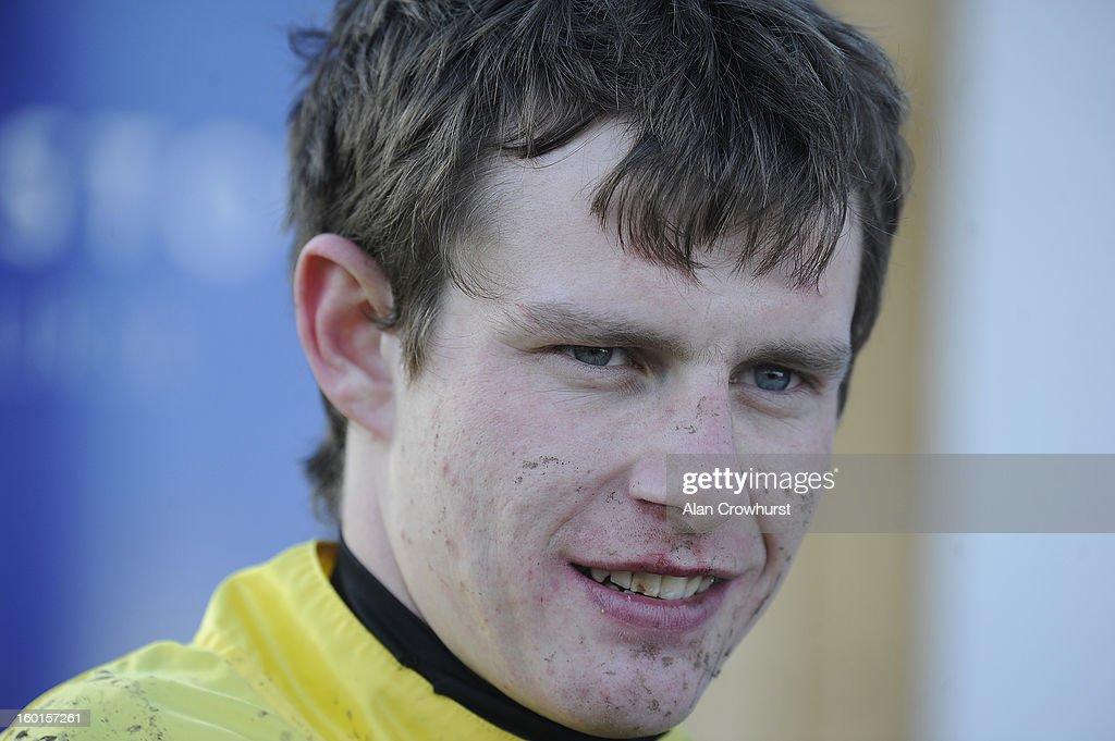 Jockey Paul Townend looks on at Leopardstown racecourse on January 27, 2013 in Dublin, Ireland.