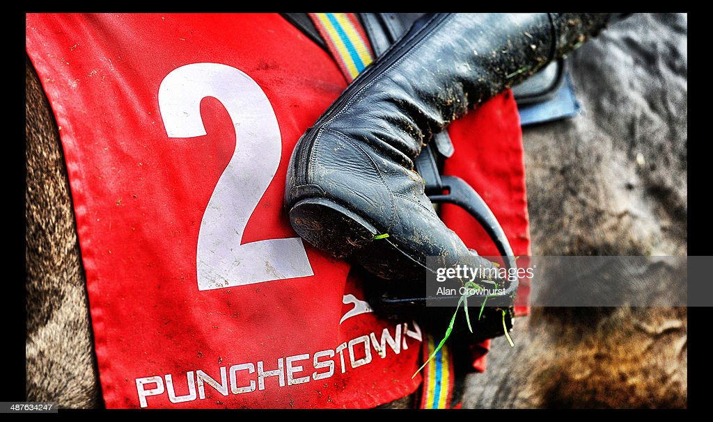 A jockey returns at Punchestown racecourse on May 01, 2014 in Naas, Ireland.