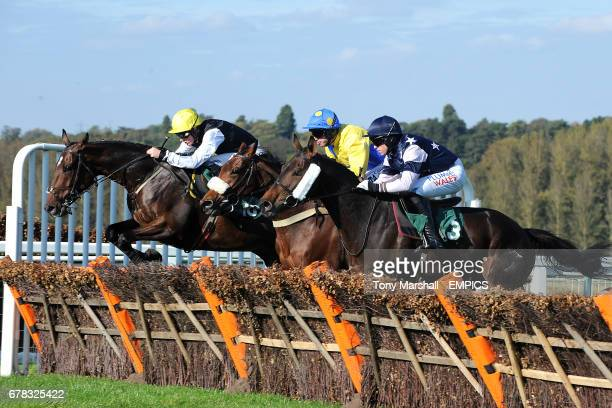 Jockey Sam TwistonDavies on Goat Castle Wayne Hutchinson on Vinnie's Girl and Donal Devereux on Scourie Bay during the Racing Forum At ggcom...