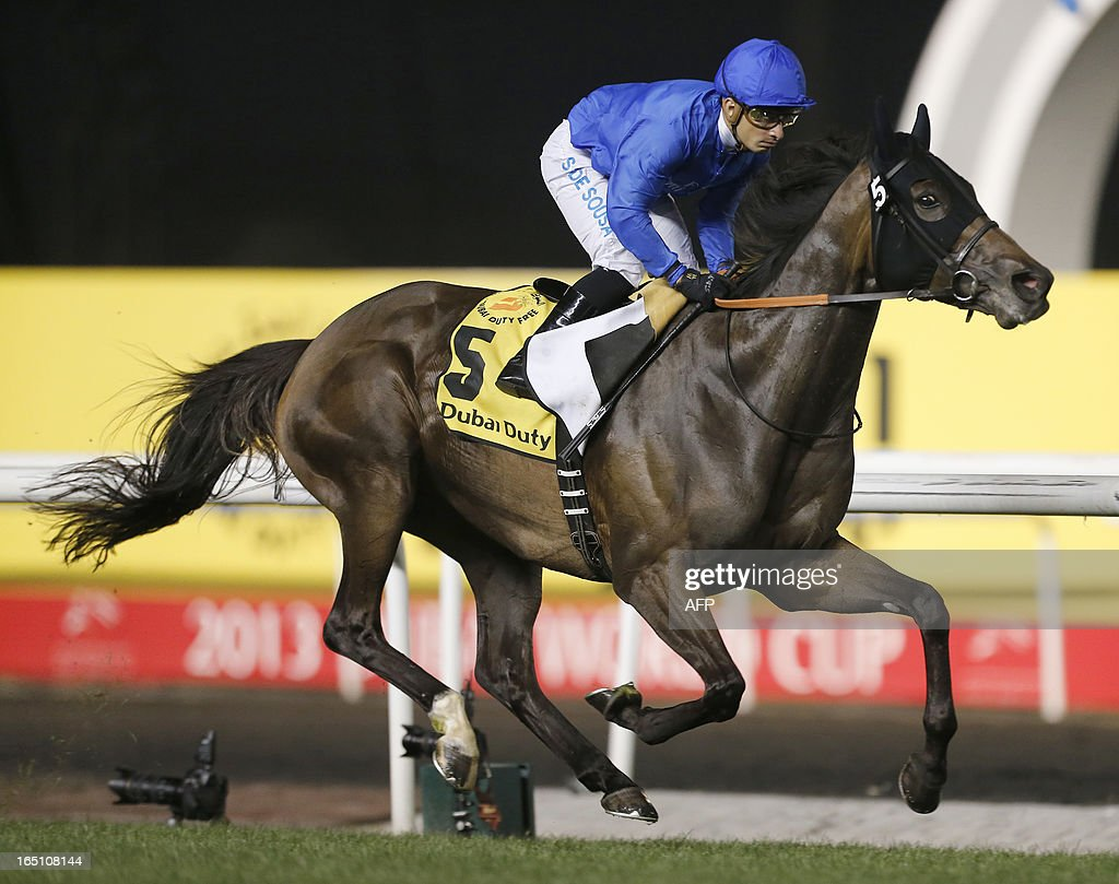 Jockey Silvester De Sousa leads Sajjhaa, owned by Godolphin stables, to win the Dubai Duty Free in the Dubai World Cup mee, the world's richest race, at Meydan race track in Dubai March 30, 2013.
