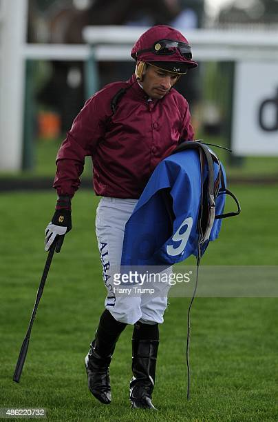 Jockey Silvestre De Sousa shows his dejection after his ride on Midas Haze in the EBF Stallions Breeding Winners Filles' Handicap Stakes at Bath...
