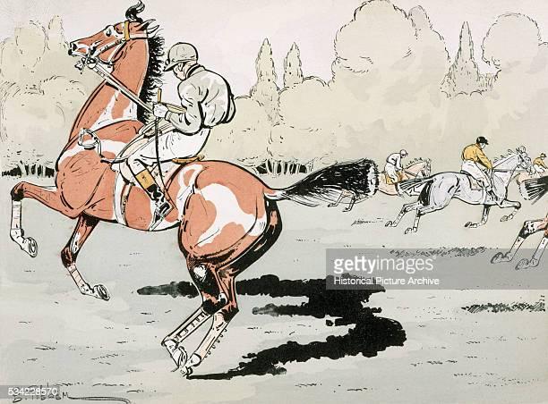 A Jockey Steadies His Horse