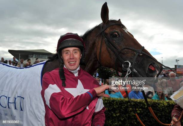 Jockey Stephen Clements after riding Edeymi to victory in the Connacht Hotel Handicap during day one of the 2013 Galway Summer Festival at Galway...