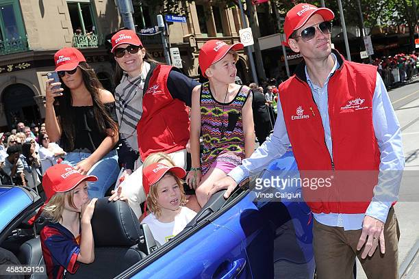 Jockey Steven Arnold attends the 2014 Melbourne Cup parade on November 3 2014 in Melbourne Australia