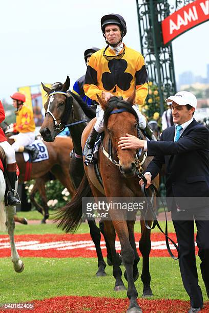 Jockey Steven Arnold on Maybe Better after winning Race 2 SAAB Quality on Derby Day at Flemington Racecourse Melbourne 4 November 2006 THE AGE...