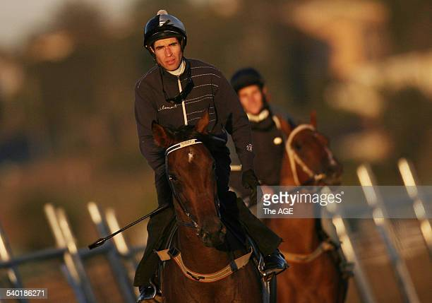 Jockey Steven Arnold riding trackwork for trainer Danny O'Brien at Flemington this morning 15 March 2007 THE AGE SPORT Picture by VINCE CALIGIURI