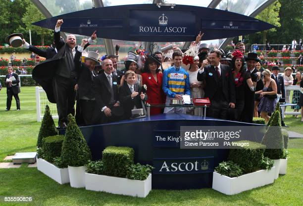 Jockey Steven Arnold trainer Dan Morton and owners Elio Anthony Galante and Partners celebrate after Scenic Blast wins the King's Stand Stakes at...