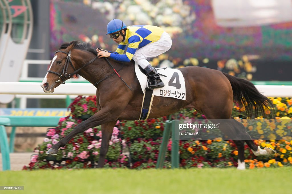 Jockey Takuya Ono riding Logi Darling wins the Race 12 at Nakayama Racecourse on March 6, 2016 in Funabashi, Chiba, Japan.