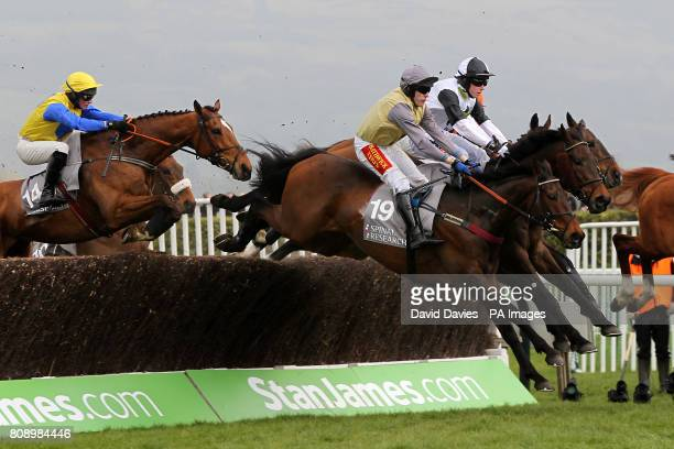 Jockey Tom Scudamore on Wolf Moon in action during the Stewart Family Spinal Research Handicap Steeple Chase
