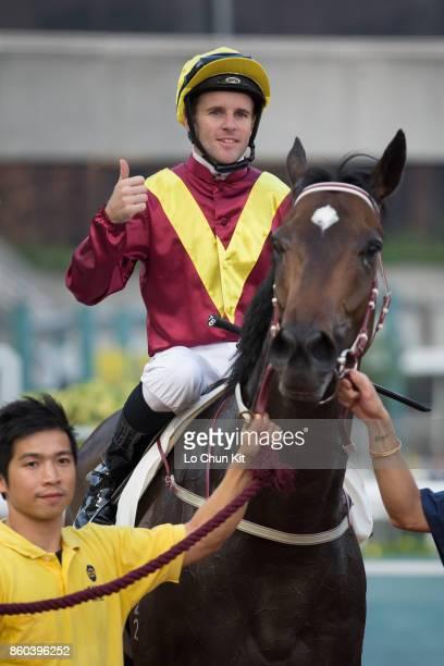 Jockey Tommy Berry riding Green Card wins Race 10 Woodpecker Handicap at Sha Tin racecourse on September 16 2017 in Hong Kong Hong Kong