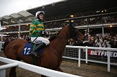 Jockey Tony McCoy prepares to take part in the The A P McCoy Grand Annual Handicap Steeple Chase the final race of the 2015 Cheltenham Festival horse...