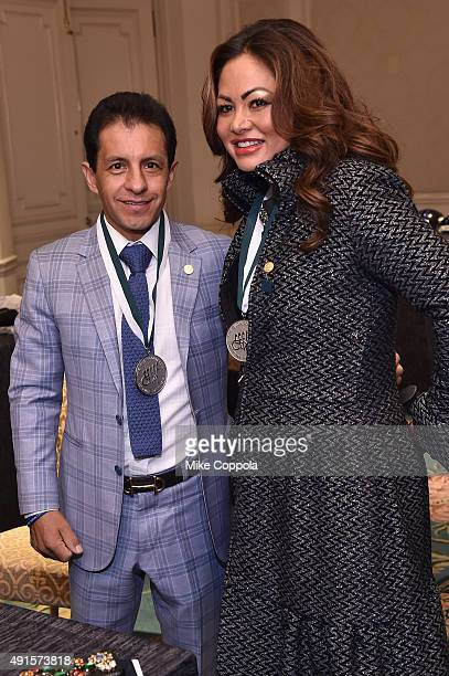 Jockey Victor Espinoza and Orianne Collins attend the 30th Annual Great Sports Legends Dinner to benefit The Buoniconti Fund to Cure Paralysis at The...