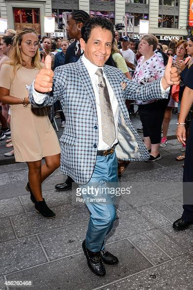 Jockey Victor Espinoza leaves the 'Good Morning America' taping at the ABC Times Square Studios on September 2 2015 in New York City
