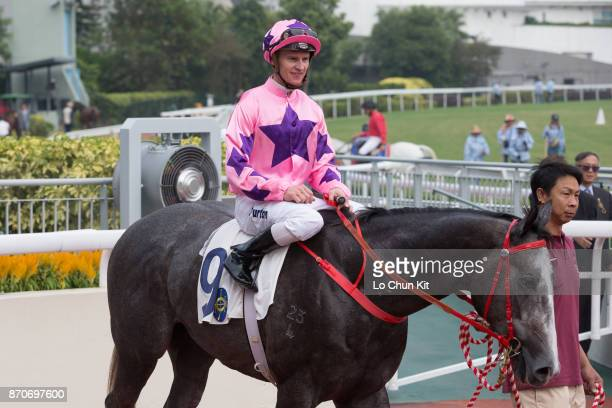 Jockey Zac Purton riding Hot King Prawn wins Race 3 L'Oreal Paris Handicap at Sha Tin racecourse on November 5 2017 in Hong Kong Hong Kong