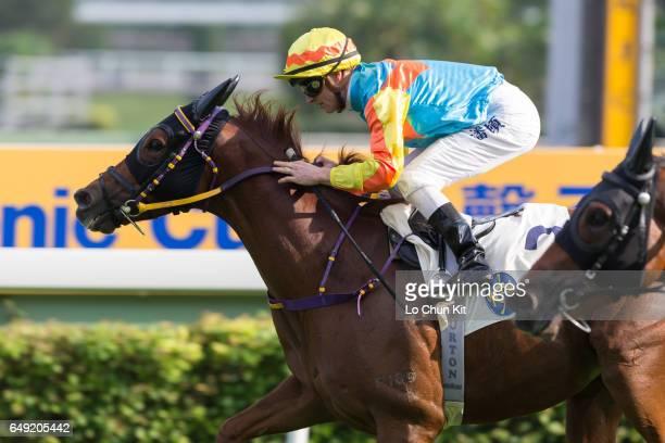 Jockey Zac Purton riding Ka Ying Kid wins Race 6 Panasonic 4K IDTV Handicap at Sha Tin racecourse on November 12 2016 in Hong Kong Hong Kong