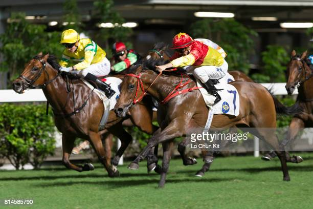 Jockey Zac Purton riding Starlight wins the Race 4 Maverick Star Handicap at Happy Valley Racecourse on July 12 2017 in Hong Kong Hong Kong