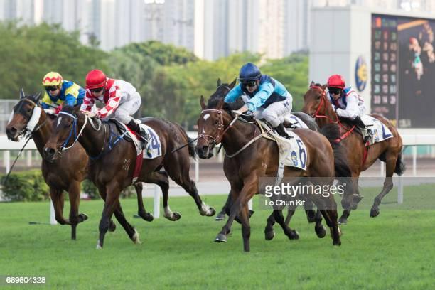 Jockey Zac Purton riding Sunny Way wins Race 10 Siu Ma Shan Handicap at Sha Tin racecourse on April 17 2017 in Hong Kong Hong Kong