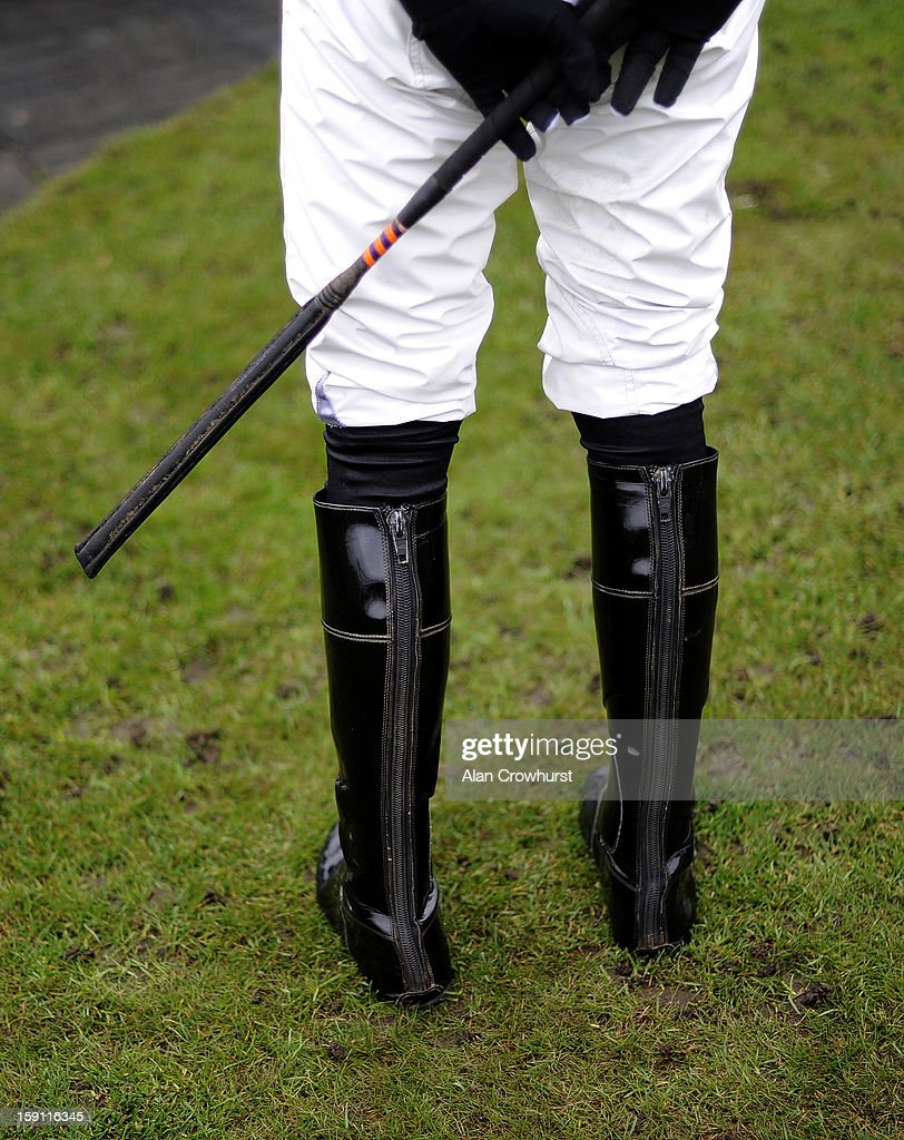 A jockeys boots and whip at Chepstow racecourse on January 08, 2013 in Chepstow, Wales.