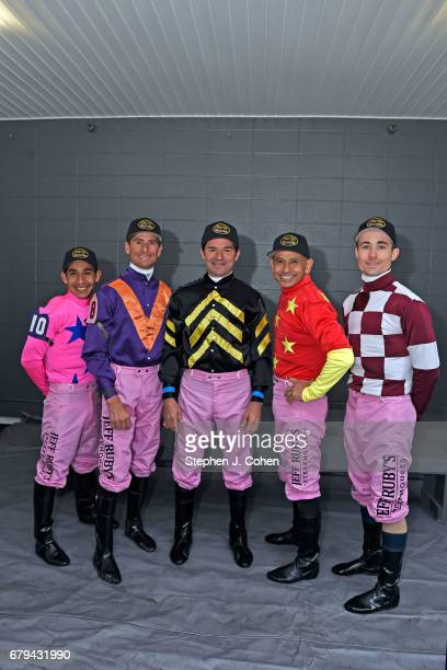 Jockeys Channing Hill Mike Smith Kent DeSormeaux Corey Lanerie and Paco Lopez pose prior to the 143rd running of The Kentucky Oaks at Churchill Downs...