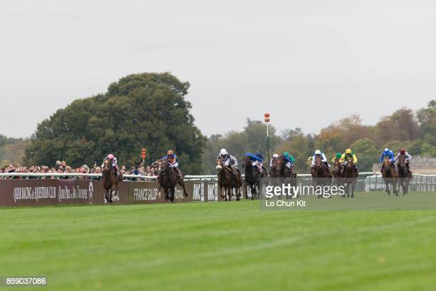 Jockeys compete the 96th Qatar Prix de l'Arc de Triomphe at Chantilly racecourse on October 1 2017 in Chantilly France