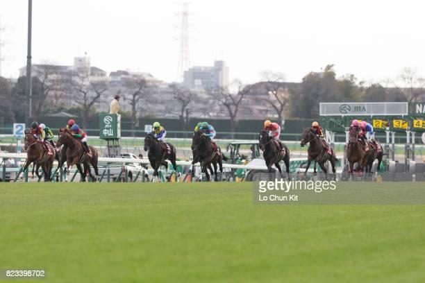 Jockeys compete the Race 11 Nakayama Kinen at Nakayama Racecourse on February 28 2016 in Funabashi Chiba Japan