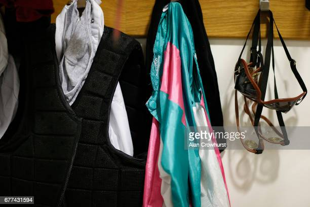 Jockeys equipment in the changing room at Ascot Racecourse on May 3 2017 in Ascot England