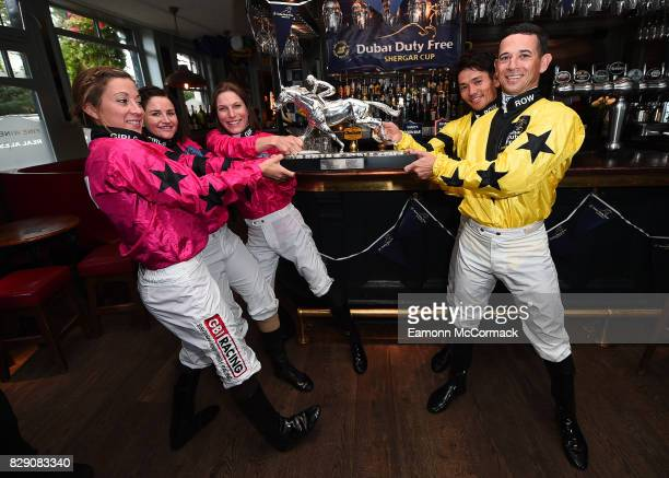Jockeys Hayley Turner Michelle Payne Captain EmmaJayne Wilson Keita Toasaki and Anthony Delpech during The Dubai Duty Free Shergar Cup Press event at...