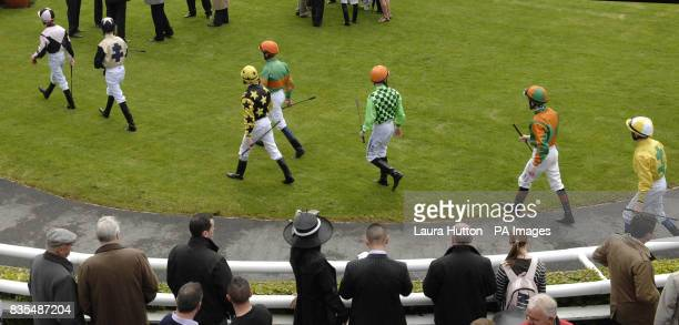 Jockeys in the parade ring during the Boylesportscom Irish 2000 Guineas Day at Curragh Racecourse Co Kildare Ireland