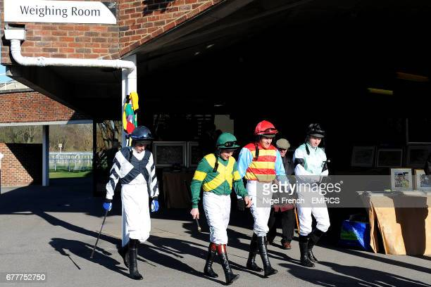 Jockeys Jack Quinlan Jamie Moore Barry Geraghty and Paul Moloney prior to the William Hill App 25 SignUp Bonus Handicap Chase