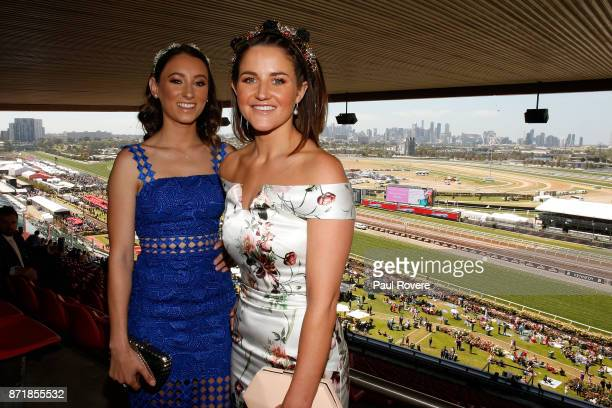 Jockeys Katelyn Mallyon and Michelle Payne pose for a photo at the Celebrating Women In Sport event on 2017 Oaks Day at Flemington Racecourse on...
