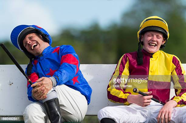 Jockeys Laughing before a Race