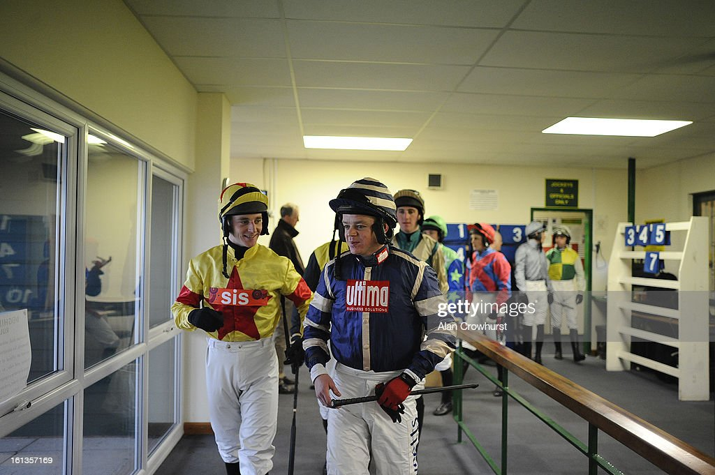 Jockeys leave the weighing room at Exeter racecourse on February 10, 2013 in Exeter, England.
