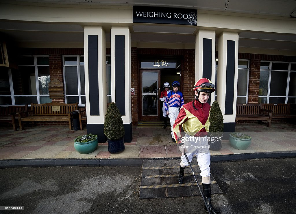 Jockeys leave the weighing room at Lingfield racecourse on December 06, 2012 in Lingfield, England.
