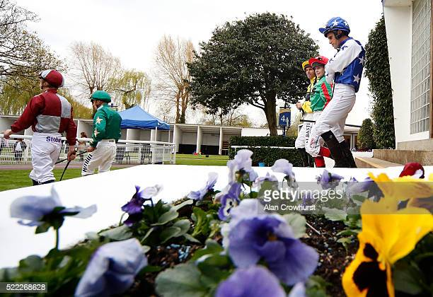 Jockeys leave the weighing room at Windsor Racecourse on April 18 2016 in Windsor England