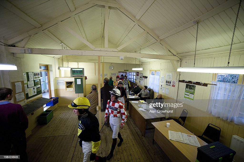 Jockeys leave the weighing room for the last race of the day during the last meeting to be held at Hereford racecourse after 241 years of racing on December 16, 2012 in Hereford, England.