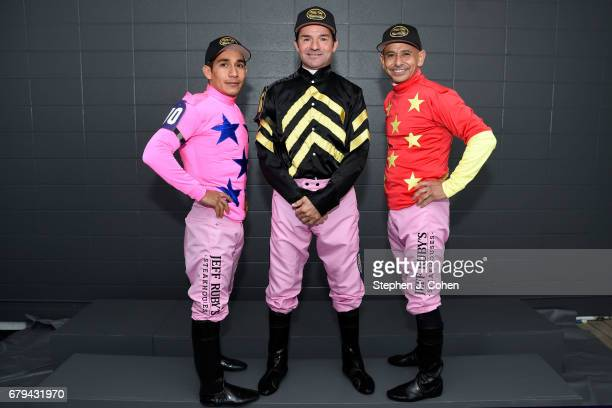 Jockeys left to right Paco Lopez Kent DeSormeaux and Mike Smith pose prior to the 143rd running of The Kentucky Oaks at Churchill Downs on May 5 2017...