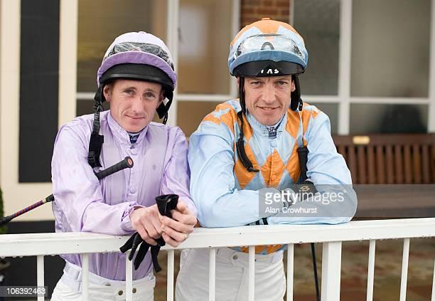 Jockeys Paul Hanagan and Richard Hughes who are vying for the 2010 jockeys championship at Lingfield racecourse on October 31 2010 in Lingfield...