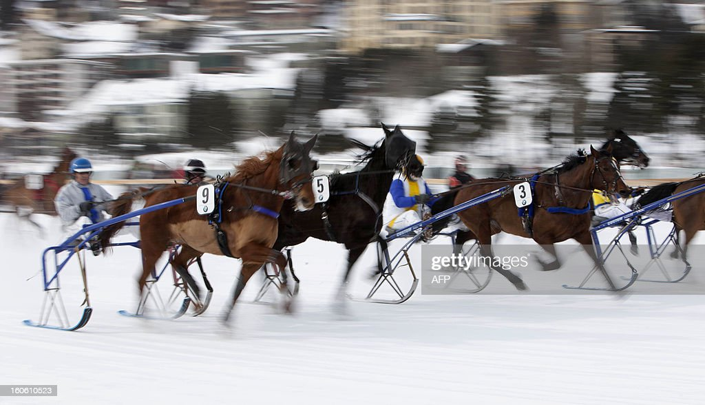 Jockeys steer trotters as they take the start of the White Turf horse racing event in St. Moritz on February 3, 2013. The races are held on the frozen lake of the Swiss mountain resort. AFP PHOTO / BORIS HEGER