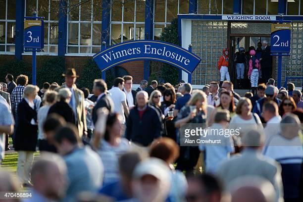Jockeys waiting at the weighing room door at Windsor racecourse on April 20 2015 in Windsor England