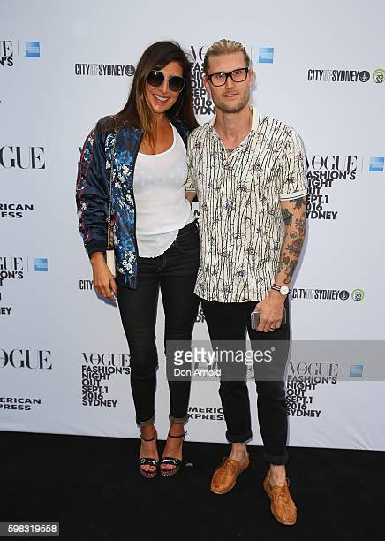 Jodhi Meares and Nick Tsindos pose during Vogue American Express Fashion's Night Out on September 1 2016 in Sydney Australia