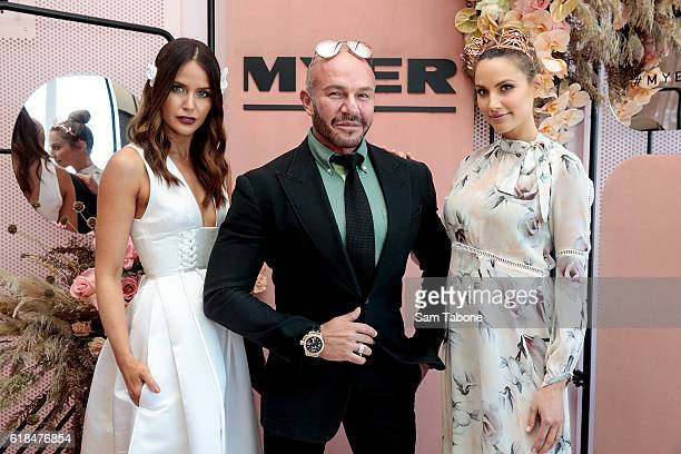 Jodi Anasta Alex Perry and Rachael Finch pose in the Myer marquee at the Birdcage Enclosure at Flemington Racecourse on October 27 2016 in Melbourne...
