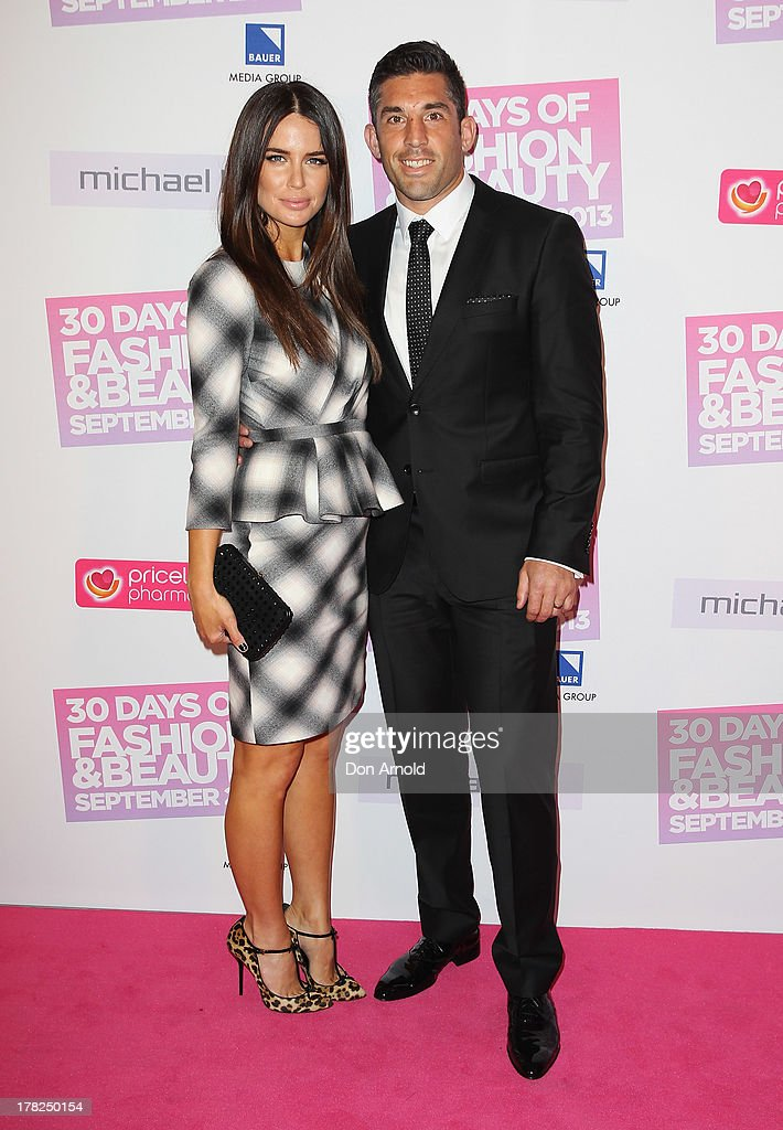 Jodi Anasta and Braith Anasta arrive at the 30 Days of Fashion and Beauty launch party at Town Hall on August 28, 2013 in Sydney, Australia.
