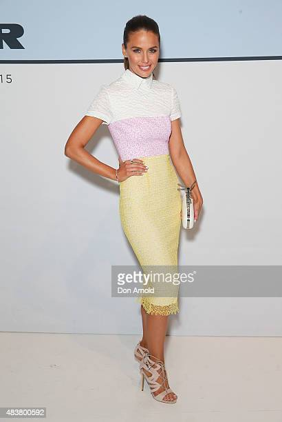 Jodi Anasta arrives ahead of the Myer Spring 2015 Fashion Launch on August 13 2015 in Sydney Australia
